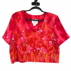 Vintage Crop Top Floral Size 14P Pink Orange White
